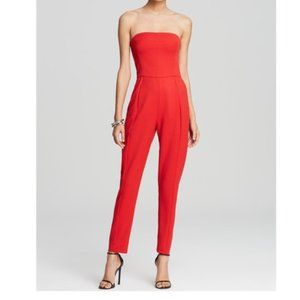 Black Halo Red Strapless Jumpsuit